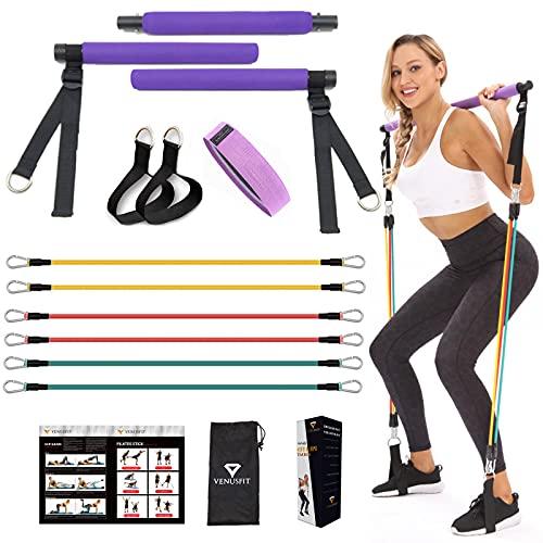 VENUSFIT attrezzi palestra I attrezzi palestra casa | attrezzi barra pilates | kit palestra I fitness donna attrezzi casa | Kit yoga portatile per bastoncini da Pilates I Guida di istruzioni