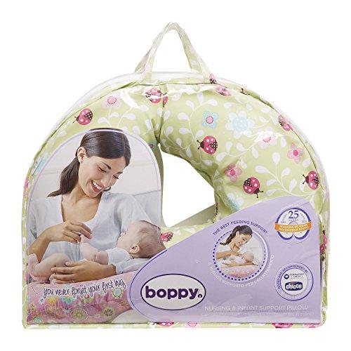 Boppy 08079902370000 - Cojín de lactancia de algodón con estampado Lady Bug Lane, color verde y rojo
