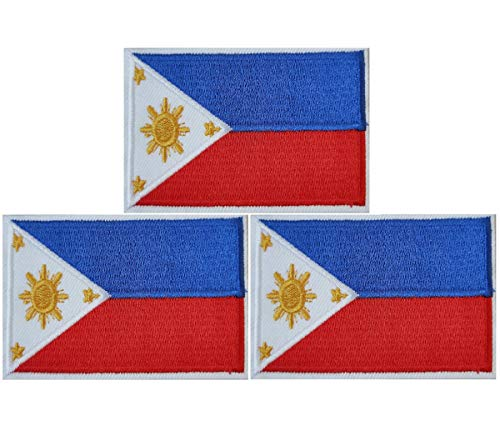 JAVD 3Pack Philippines Flag Patch Filipino Flags Patchs, Philippines Tactical Flag Embroidery Patch with, for Hats, Tactical Bags, Jackets, Clothes Patch Team Military Patch