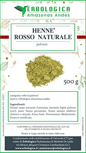 Hennè capelli rosso naturale 500g (Lawsonia inermis) in polvere, Puro e senza additivi – Colorazione 100% vegetale, riflessante e nutriente per capelli - Erbologica Amazonas Andes