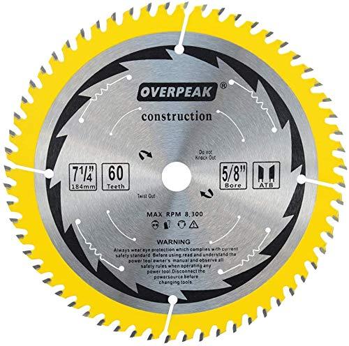 OVERPEAK 7-1/4 inch circular Saw Blade, 60 Tooth ATB Fine Finishing Saw Blades, Wood Cutting Blades, 5/8