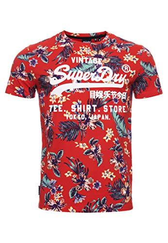 Superdry Super 5´ Camiseta Hombre Vintage Tropical Red