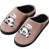 Zapatillas de Estar por Casa para Niñas Niños Otoño Invierno Zapatillas Mujer Hombres Interior Caliente Suave Dibujos Animados Panda Zapatos Marrón 31/32 EU = 32/33 CN