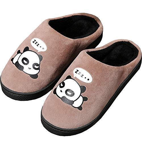 Zapatillas de Estar por Casa para Niñas Niños Otoño Invierno Zapatillas Mujer Hombres Interior Caliente Suave Dibujos Animados Panda Zapatos Marrón 43/44 EU = 44/45 CN
