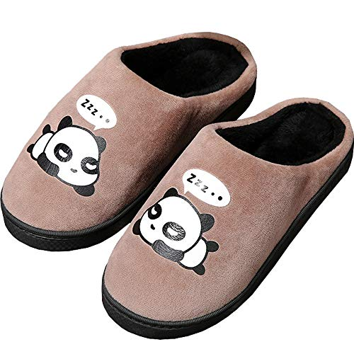 Gaatpot Damen Herren Warme Hausschuhe Winter Mädchen Jungen Niedliche Cartoon Panda Baumwolle Pantoffel Indoor Haus Slippers- Gr. 43/44 EU (Etikettgröße:42/43), Braun