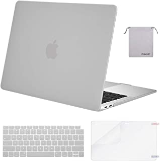 MOSISO MacBook Air 13 inch Case 2019 2018 Release A1932 with Retina Display, Plastic Hard Shell & Keyboard Cover & Screen Protector & Storage Bag Compatible with MacBook Air 13, Neutral Gray