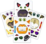 24 Make A Cat Stickers - Create Your Own Kitten Sticker With Various Faces - Includes Tabby, Siamese, Bengal, Black Cats - Great Kid's Party Favor Or Activity - A Must Have For Kitty Lovers!