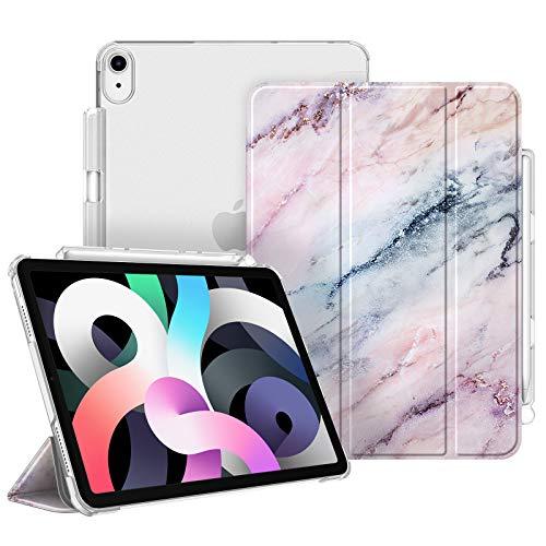 Fintie Funda para iPad Air 10,9' (4.ª Generación, 2020) con Soporte Integrado para Pencil - Trasera Transparente Carcasa Ligera Función de Auto-Reposo/Activación, Mármol Rosa