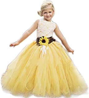 Yellow Tulle with Sunflower Belt Flower Girl Dress for Communion Pageant Dresses