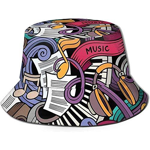 William Bacon Gorra de Pescador, Música temática Dibujado a Mano Instrumentos Abstractos Batería de micrófono Teclado Stradivarius, Sombrero de Playa de Viaje