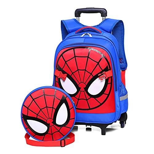 Hflyy Mochilas De Spiderman para Niños Mochila Escolar con Barra Corbata Mochilas Superhéroes Informales Al Aire Libre Impermeables Kit Almuerzo Viaje Bolsas Picnic Anime Clásicas,Blue-2 Wheeled