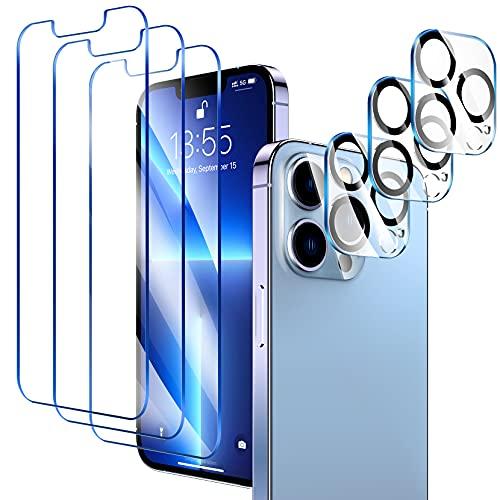 LK 6 Pezzi Compatibile con iPhone 13 PRO 6.1  Pellicola Protettiva, 3 Pezzi Vetro Temperato e 3 Pezzi Pellicola Fotocamera, Durezza 9H, HD Schermo Pellicola, con Strumenti di Installazione