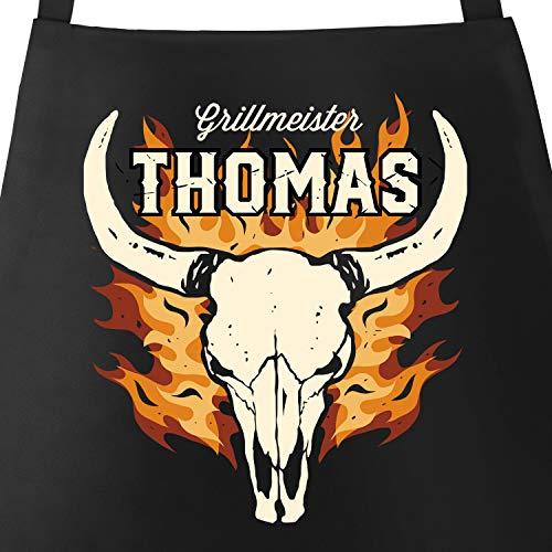 MoonWorks® Männer Grill-Schürze Grillmeister personalisiert mit Name Skull Schädel Flammen Baumwoll-Schürze schwarz Unisize