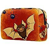 Bolsa de Maquillaje Murciélago Lindo de Halloween Neceser de Cosméticos y Organizador de Baño Neceser de Viaje Bolsa de Lavar para Hombre y Mujer 18.5x7.5x13cm