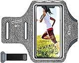 JETech Brassard de Sport Compatible avec iPhone Se(2020)/11/11 Pro/XR/XS/X/8 Plus/7 Plus/8/7/6s/6, Galaxy S10/S9/S9+, Bande Ajustable et d'une Fente pour Carte, pour la Course, la Randonnée, Gris