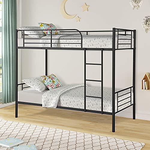 Twin Over Twin metalen stapelbedden, ruimtebesparend ontwerp Slapen Slaapkamer Twin bed met ladder en veiligheidsrail voor jongens, meisjes, kinderen, jonge tieners en volwassenen (zwart)