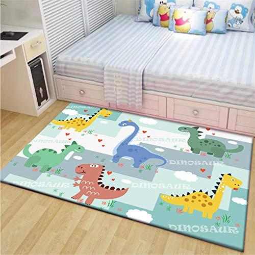 QPCGRA Alfombras Salon Grandes Dinosaurio Animal Colorido De Dibujos Animados Alfombra de Felpa Alfombra Mullida Alfombra...