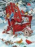 Pintura de diamante completo'Paisaje rojo de Navidad' Bordado de taladro 5D Diy Pintura de diamante Hecho a mano Punto de cruz regalo A4 50x70cm
