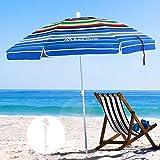 Brace Master Beach Umbrella, 6.5ft Sand Anchor with Tilt Aluminum Pole, Portable UV 100+ Protection Beach Umbrella with Carry Bag for Outdoor Patio, Color Stripes