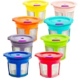 Youngever 8 Reusable K Cup 2.0 Solo Filter Pod Coffee Stainless Mesh, 8 Rainbow Color