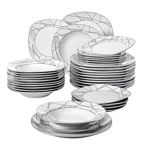 VEWEET Serena 36pcs Assiettes Pocelaine Service de Table 12pcs Assiettes Plates 24,7cm, 12pcs Assiette Creuse 21,5cm, 12pcs Assiette à Dessert 19cm Vaisselles pour 12 Personnes Moderne Cadeau Fête