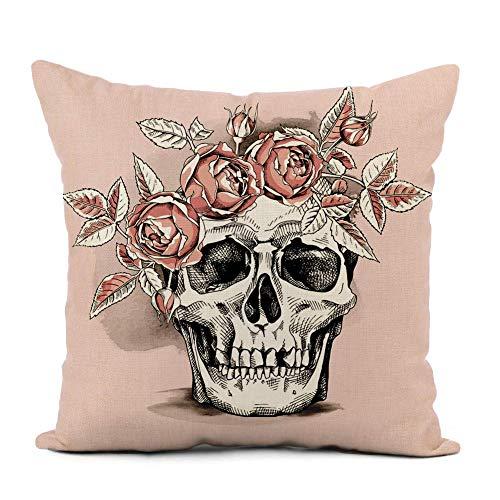 phjyjyeu Funda de almohada de lino con diseño de calavera de flores en rosa claro, corona de rosas, decoración del hogar, funda de cojín de 40,6 x 40,6 cm, para sofá, cama y coche, 40,6 x 40,6 cm