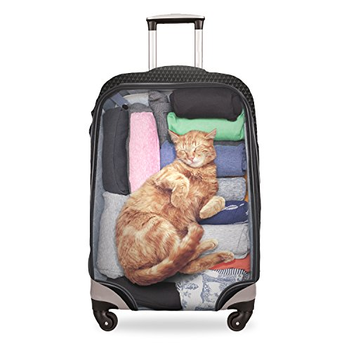 FRINGOO Luggage Suitcase Cover Baggage Protector Spandex Stretchable Elastic Anti Scratches Dust Travel Bag Case Funny Cute 18'' - 28'' (Small 18'' - 22'', Cat Inside)