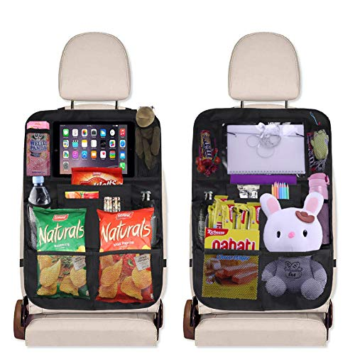 JUSTTOP Black Car Backseat Organizer with Touch Screen Tablet Holder + 9 Storage Pockets Kick Mats Car Seat Back Protectors, 2 pack