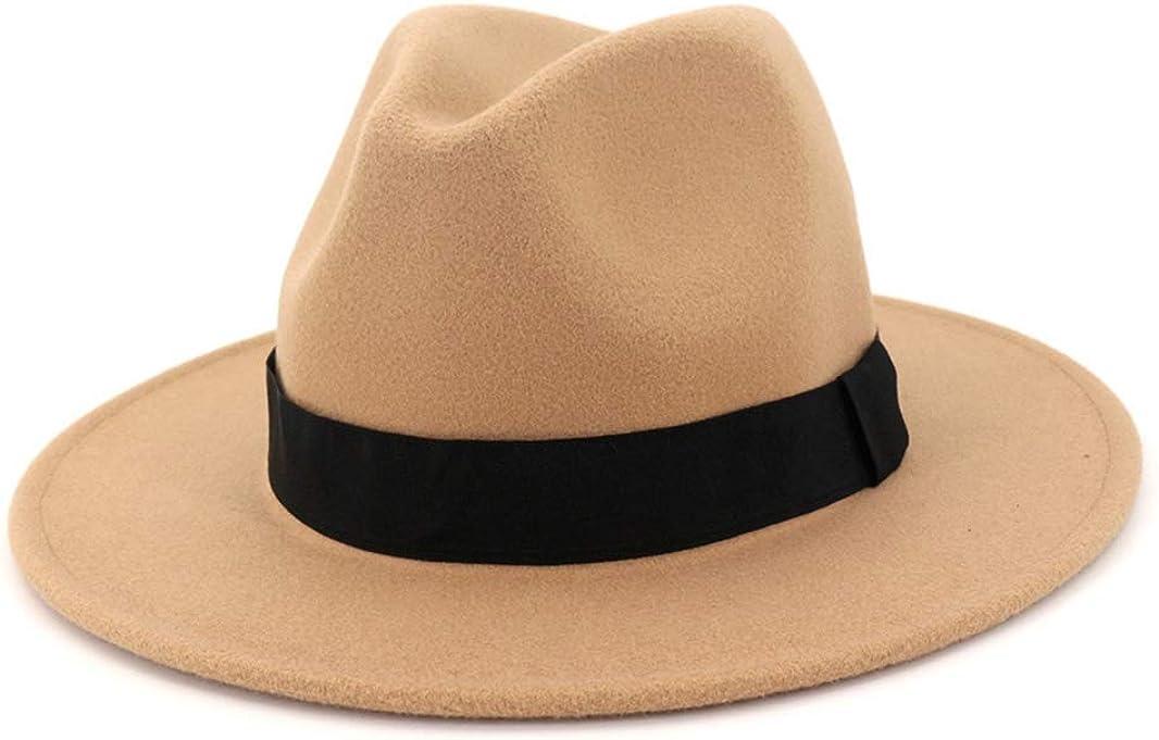 Wool Blend Black Grey Fedora Hat Classic Wide Brim Casual Hat Men Women Vintage Gentleman Top Jazz Cap with Ribbon
