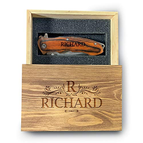 Clip Knife With Personalized Wooden Box, 100% Quality Custom Box, Pocket Knife, Personalized Knife For Him, Hunter Knife With Customization