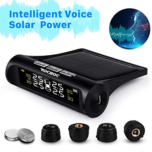 Rocboc Wireless Smart Tire Safety Monitor, Solar Power TPMS Tire Pressure Monitoring System with 4 External Cap Sensors, 6 Alarm Modes, Real Time Pressure & Temperature Alerts Ensure Safe Driving