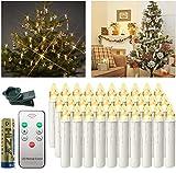 UISEBRT 30 Stück Weihnachtskerzen LED Kabellos - Warmweiß Kerzen Flammenlose mit Fernbedienung und Batterie für Weihnachtsdeko, Hochzeitsdeko, Halloween, Geburtstags, Party, Feiertag