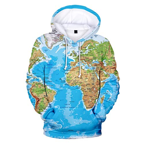 Transwen Unisex 3D Druck Hoodie Kapuzenpullover Weltkarte Langarm Pullover Sweatshirt Herren Slim Fit Kapuzen Winter Warmer Oberteile mit Kapuzen Sweater Hemd Tops(Blau,S)
