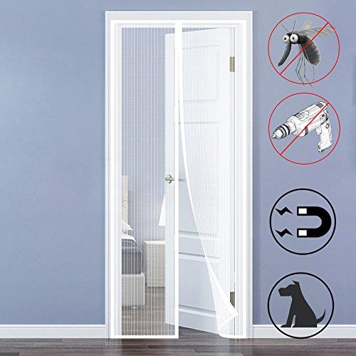 QH-Shop Fliegengitter Tür,Magnet Fliegengitter Automatisch Verschließen mit Heavy Duty Mesh und Full Frame Klettverschluss ohne Bohren für Balkontür Wohnzimmer Terrassentür 90 x 210cm