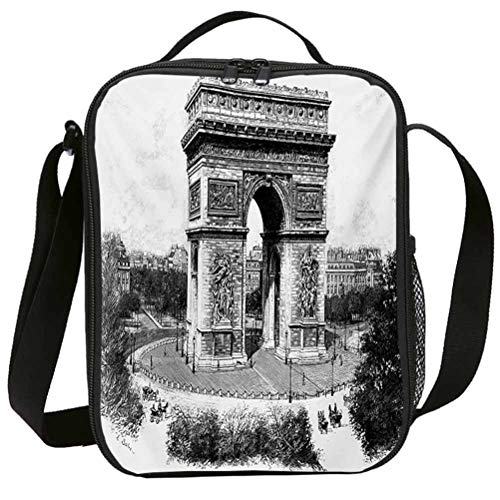 Fashion Lunch Bags with Zipper Insulated Lunchbox for School Girls Vintage Old Photo of Auguste