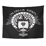 hdbklhjxk Tapisserie Blaues Boot der Wikinger in Flammen & nordische Runen Schwarze Kriegerflagge Wohnkultur Wandteppiche 150x170cm