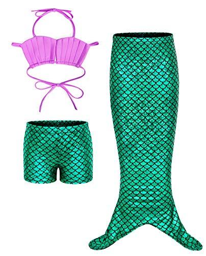 AmzBarley Sirena Bañador Niña Sirenita Traje Baño Pincesa Disfraz Niña 3 Piezas Verano Playa Nadar Natación Conjunto Cosplay 2-3 Años