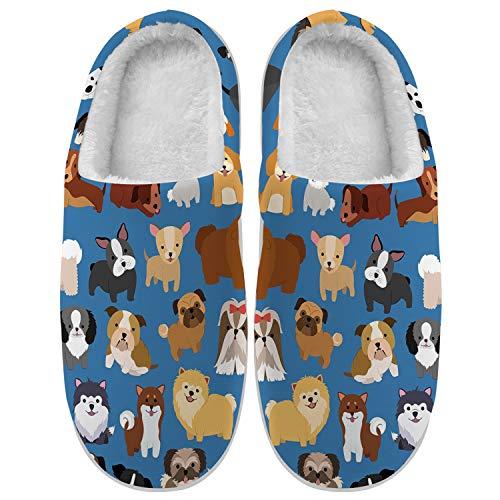 Womens Mens Dog Slippers Slip on Fuzzy Slippers Cartoon Dog Pitbull Pug House Slippers Warm Plush Bedroom Shoes,10-11 Women/8-9 Men