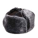 Cappelli di Mezza età e Anziani Cappelli Invernali da Uomo Ispessimento Caldo Protezione per Le Orecchie da Esterno in Cotone Cappellini in Pelle di Pecora Vecchia Pelle di Vacchetta