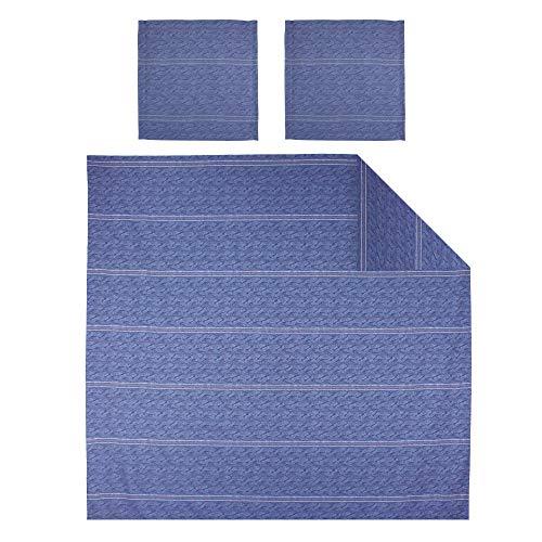 Linnea Parure de lit 280x240 cm Satin de Coton Vendome Bleu foncé