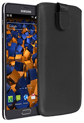 mumbi ECHT Ledertasche für Samsung Galaxy Note 4 Tasche Leder Etui (Lasche mit Rückzugfunktion Ausziehhilfe)