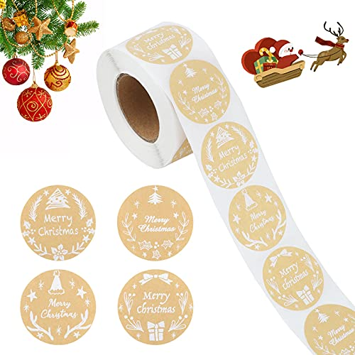 500 piezas pegatinas Redondas de Feliz Navidad Etiquetas Adhesivas de Papel Artesanal Tarjeta de Agradecimiento Caja de Regalo Paquete Sello Etiqueta para Navidad empresa al horno decoración