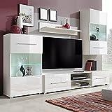 MUSEVANE Fünfteilige Wohnwand TV-Schrank mit LED-Beleuchtung Weiß