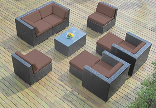 Hot Sale Genuine Ohana Sunbrella Brown (5432) Outdoor Patio Sofa Sectional Wicker Furniture 9pc Couch Set with Free Patio Cover (PN0910)