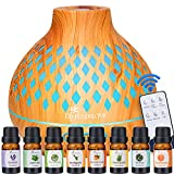 Diffuserlove Essential Oil Diffuser with 8 Essential Oils 10ml Remote Control Diffuser 400ML Diffusers for Essential Oils Aromatherapy Humidifier 7 Colors Mood Light for Home Bedroom Office