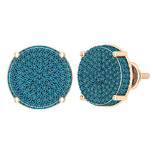 Dazzlingrock Collection Pendientes redondos de 0,50 quilates (quilates) de diamante azul redondo para mujer, círculo pavimentado con tuerca de 1/2 quilates, oro rosa de 18 quilates