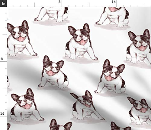 Spoonflower Fabric - Happy French Bulldog Dog Puppy Black White Watercolor Pet Printed on Petal Signature Cotton Fabric by The Yard - Sewing Quilting Apparel Crafts Decor