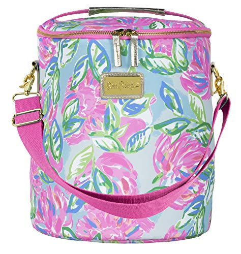 Lilly Pulitzer Insulated Soft Beach Cooler with Adjustable/Removable Strap and Double Zipper Close, Totally Blossom