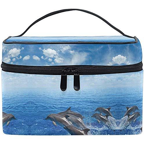 Delfini che saltano fuori dal mare Trucco subacqueo Trenino Custodia Trucco che trasporta la custodia per cosmetici con cerniera portatile