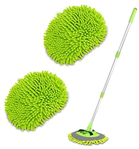 2 in 1 Chenille Microfiber Car Wash Brush Mop Mitt with 45″ Aluminum Alloy Long Handle, Car Cleaning Kit Brush Duster, Not Hurt Paint Scratch Free Cleaning Tool Dust Collector Supply for Washing Truck